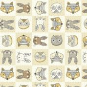 Doodle Days by Makower UK - 5465 - Animal Faces in Neutral Squares - 1872_Q - Cotton Fabric